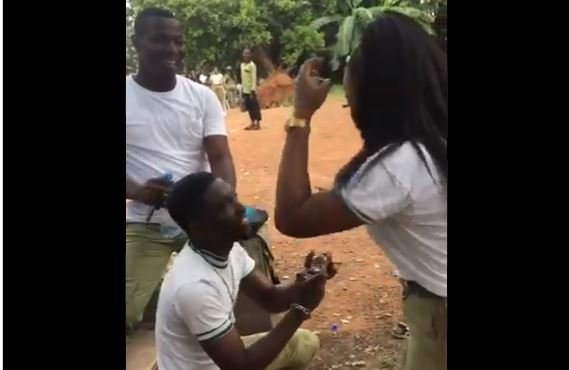 TRENDING VIDEO: Corps member feigns illness to propose to girlfriend during POP