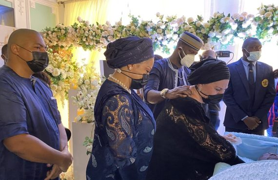Tears as Peter Okoye's father-in-law is buried