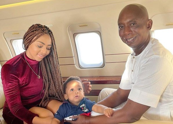 Regina Daniels shares lovely family photos on private jet