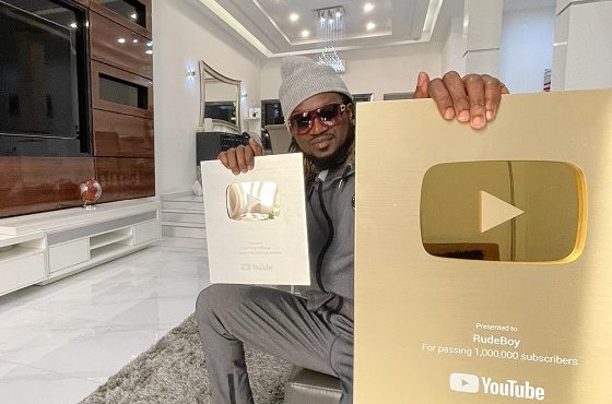Rudeboy bags YouTube's gold plaque after hitting 1m subscribers