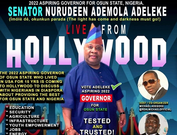 Adeleke takes campaign for Osun 2022 guber election to Hollywood